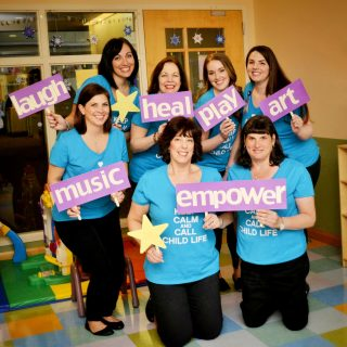 The Child Life and Creative Arts Therapy team includes: Top row (L-R): Lauren Nittoli, Child Life Specialist; Jeannie Sweeney, Child Life Specialist; Laura Cocozza, Child Life Specialist; and Gabrielle Grimaldi Bellettieri, Art Therapist. Bottom row (L-R): Laurie Park, Music Therapist; Tricia Hiller, Director, Child Life and Creative Arts Therapy; and Marci Lewis, Child Life Specialist and internship program coordinator.
