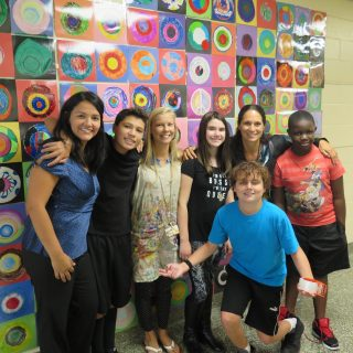 Hilltop students with Art instructor Erin Girling, Principal Christine Ditrano and Assistant Principal Brenda Torres-Vera