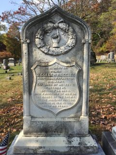 Civil War headstone of D. Colden Ruggles in Oak Hill Cemetery. credit: Beth Robinson