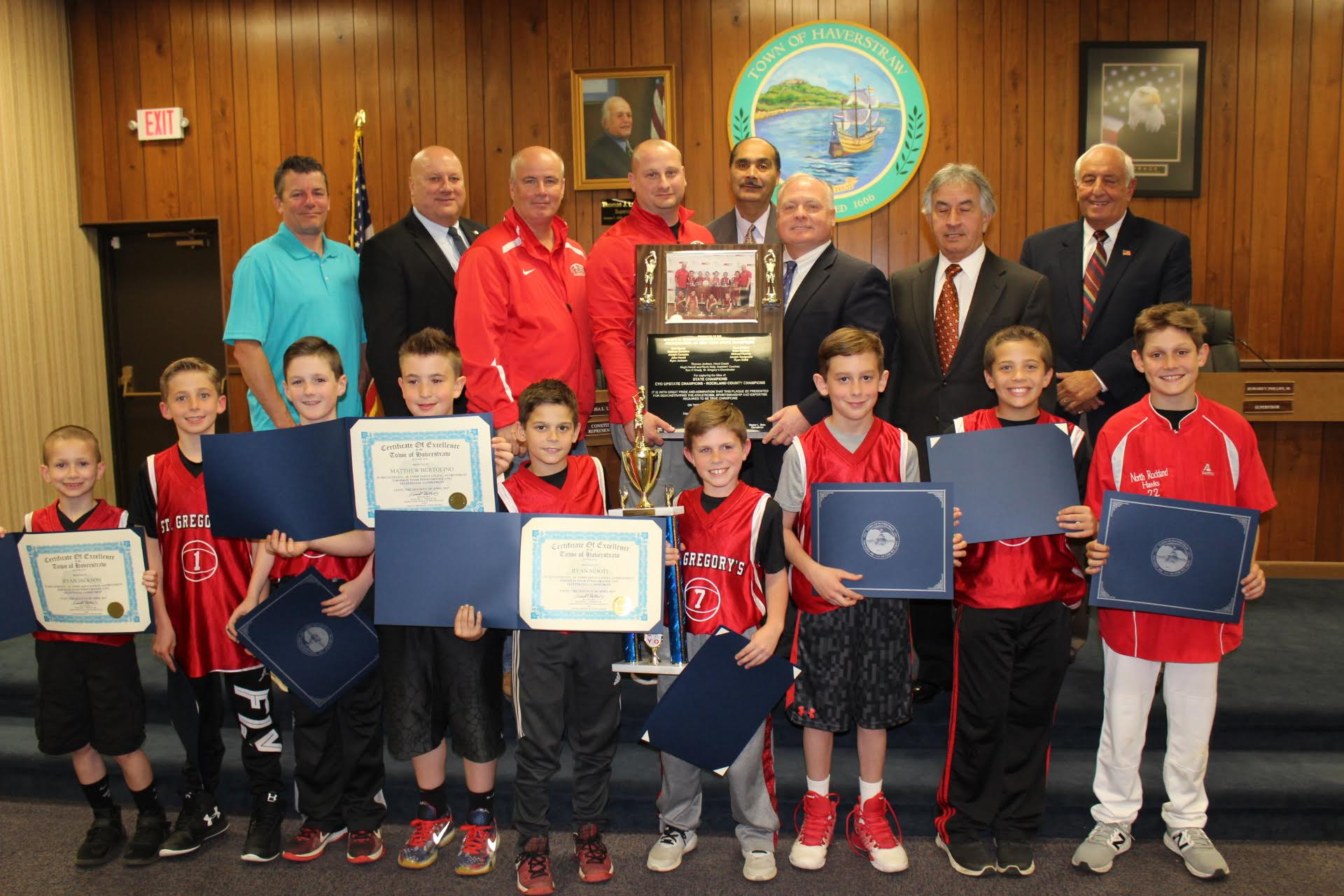 STATE CHAMPION CYO TEAM RECOGNIZED BY TOWN BOARD