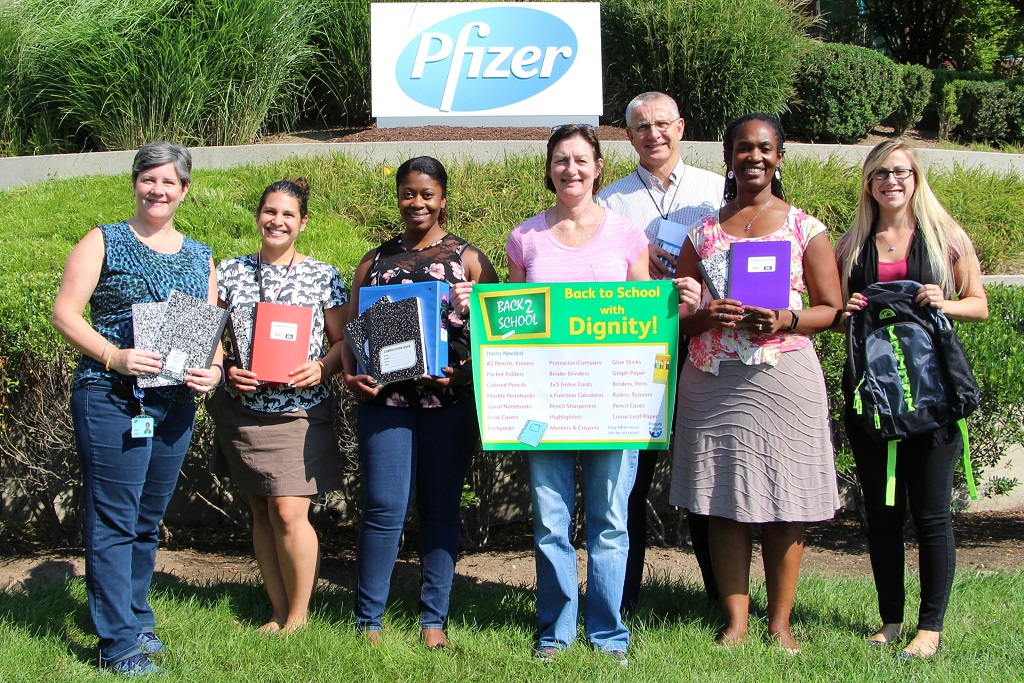 PEOPLE TO PEOPLE GETS HELPING HANDS AND SCHOOL SUPPLY DONATIONS FROM PFIZER PEARL RIVER EMPLOYEES