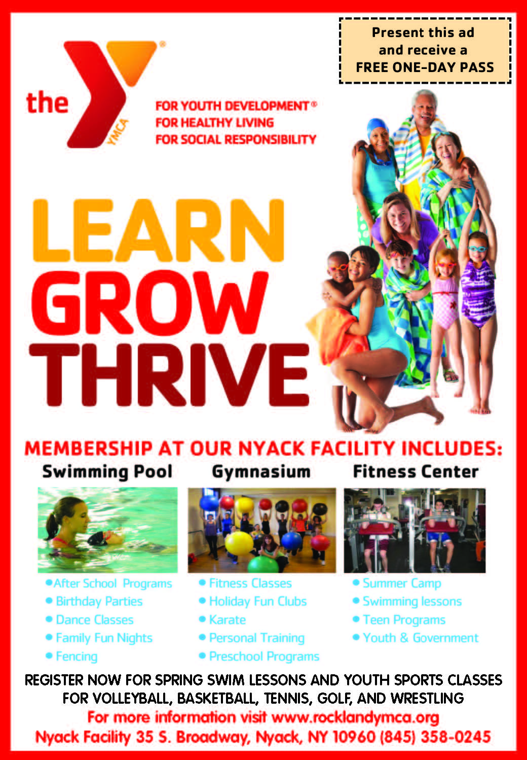 SPRING REGISTRATION DRIVE FOR ROCKLAND YMCA