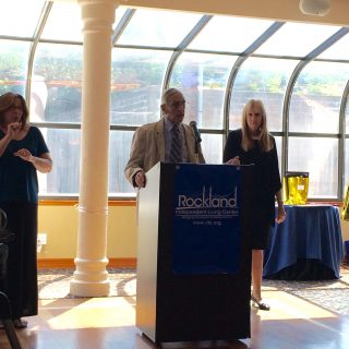 Leslie Barnett (Co-Facilitator) at Jim Evers receiving the 2015 Senator Eugene Levy Memorial Independent Living Award for Grassroots Community Service Projects during the 25th Anniversary of the American Disabilities Act. Submitted by Rockland Independent Living Center