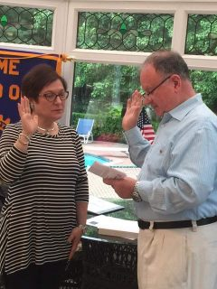 "Josephine ""Jo"" Lore being sworn in as new President of Nyack Rotary by Jim Damiani, Governor for 2017;"