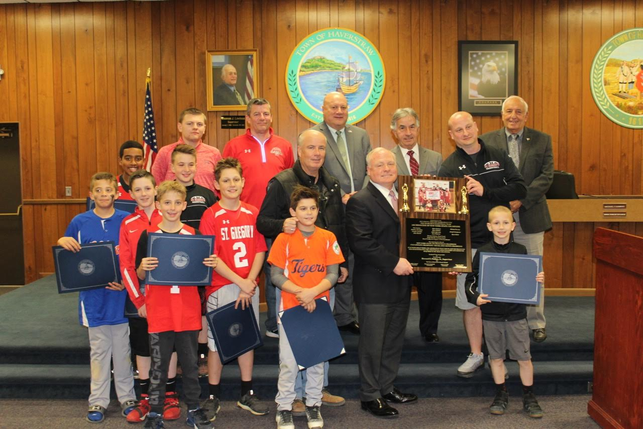 ST. GREGORY'S CHAMPIONSHIP CYO TEAMS RECOGNIZED BY HAVERSTRAW TOWN BOARD