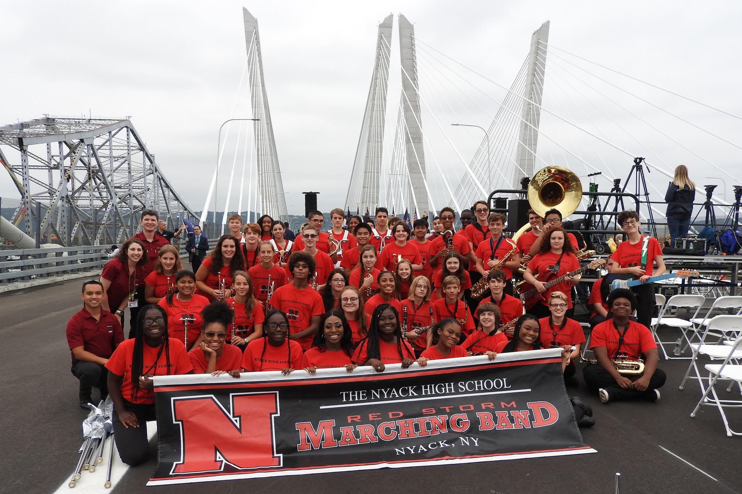 Nyack High School Marching Band performs on the new bridge span