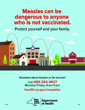 HEALTH DEPARTMENT OFFERS FREE MEASLES VACCINES ON FRIDAY, APRIL 12 IN MONSEY