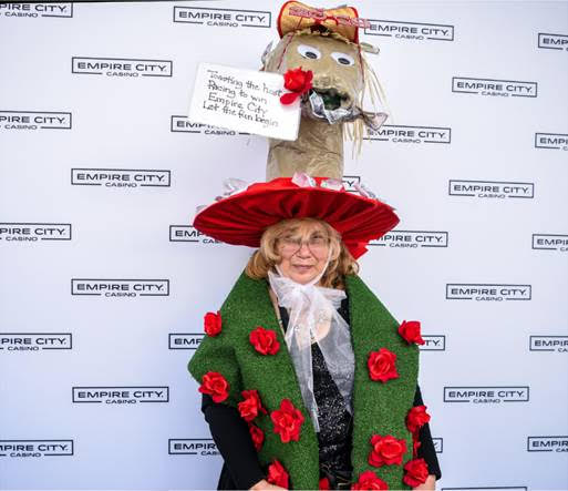 Roseann S. from West Haverstraw, NY Wins Kentucky Derby Hat Contest in Her Belmont Best
