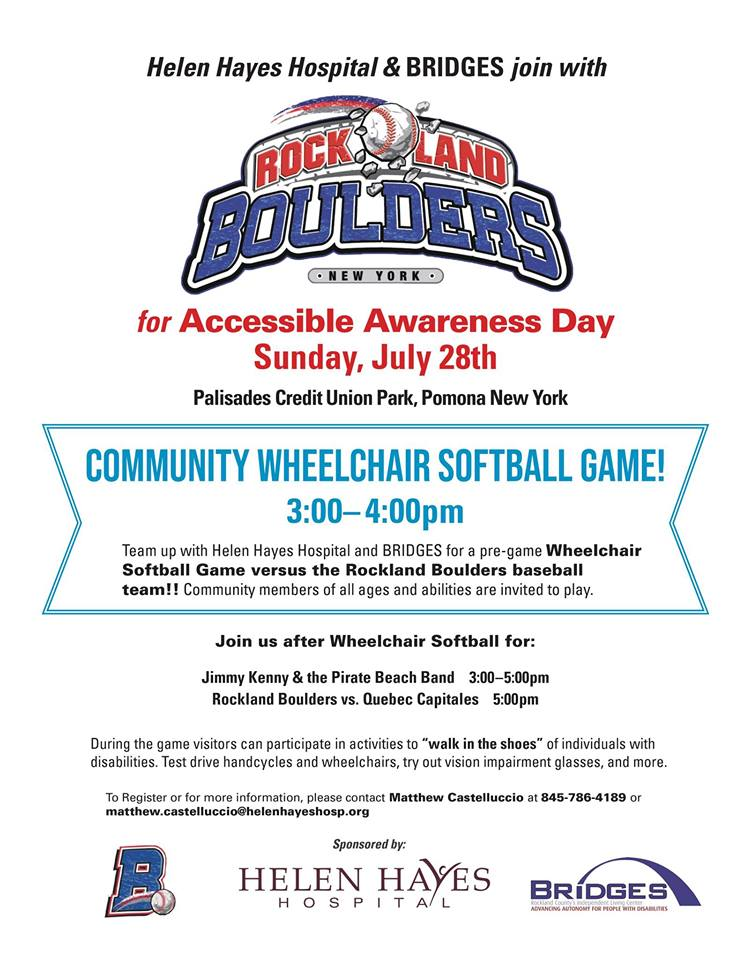 ROCKLAND BOULDERS, HELEN HAYES HOSPITAL, & BRIDGES JOIN FOR ACCESSIBLE AWARENESS DAY AT PCU PARK
