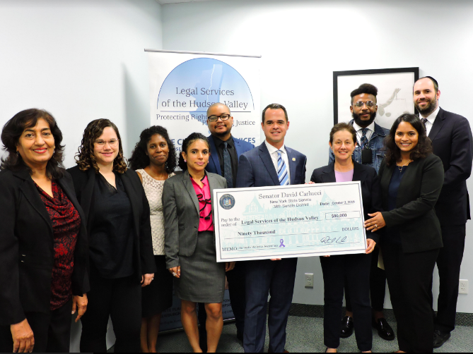 Senator Carlucci Presented a Check for $90,000 in State Funding to Legal Services of the Hudson Valley to Help Domestic Violence Survivors
