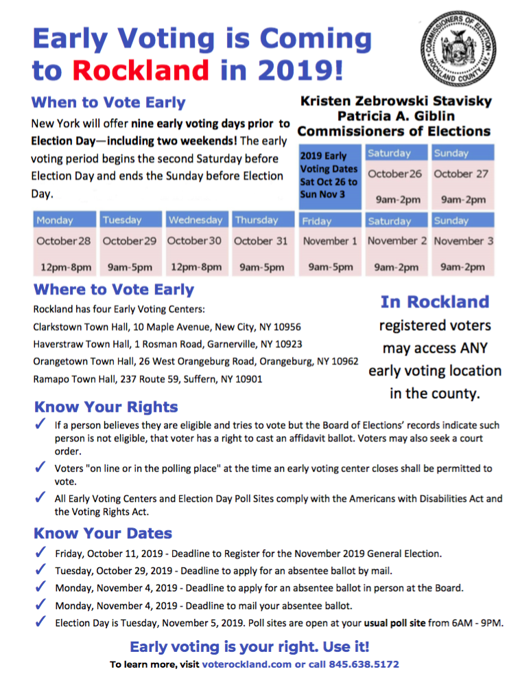 Early Voting Comes to Rockland County