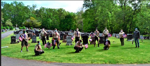 Boy Scout Troop 29 placed flags at Gethsemane Cemetery on Sunday, May 24, 2020
